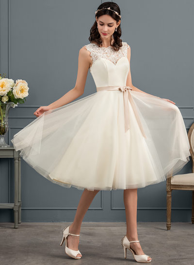 A-Line/Princess Square Neckline Knee-Length Tulle Wedding Dress With Beading Sequins Bow(s)