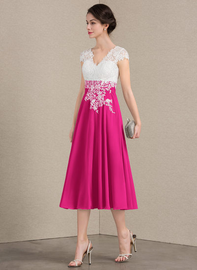 A-Line/Princess V-neck Tea-Length Chiffon Lace Mother of the Bride Dress