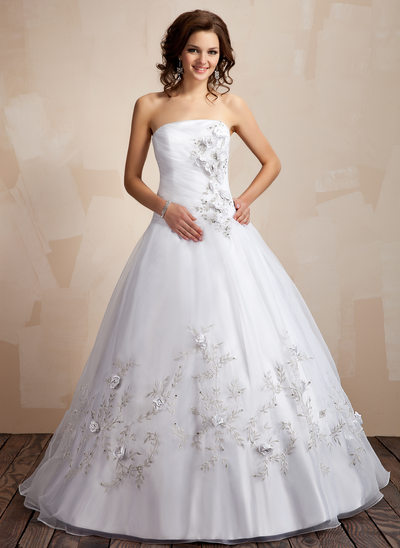 Ball-Gown Strapless Floor-Length Organza Quinceanera Dress With Embroidered Ruffle Beading Flower(s)