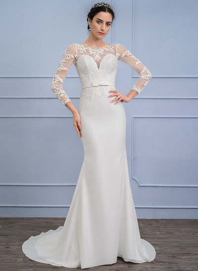 Trumpet/Mermaid Scoop Neck Sweep Train Chiffon Lace Wedding Dress With Bow(s)