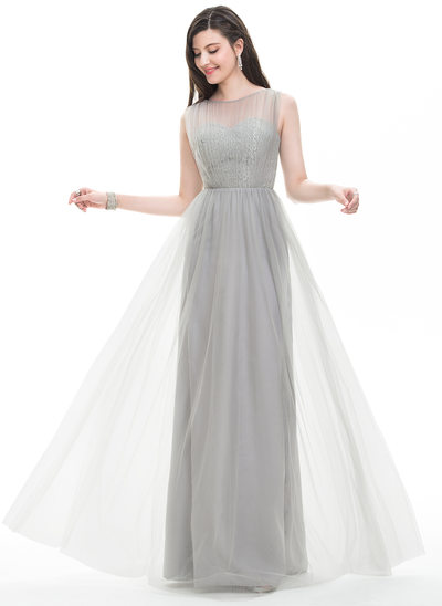 A-Line/Princess Scoop Neck Floor-Length Tulle Prom Dress With Ruffle