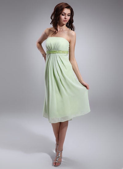 Empire Strapless Knee-Length Chiffon Maternity Bridesmaid Dress With Ruffle Beading Sequins