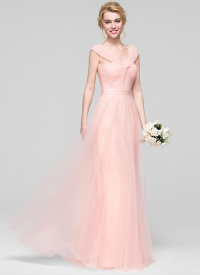 A-Line/Princess V-neck Floor-Length Tulle Bridesmaid Dress With Ruffle