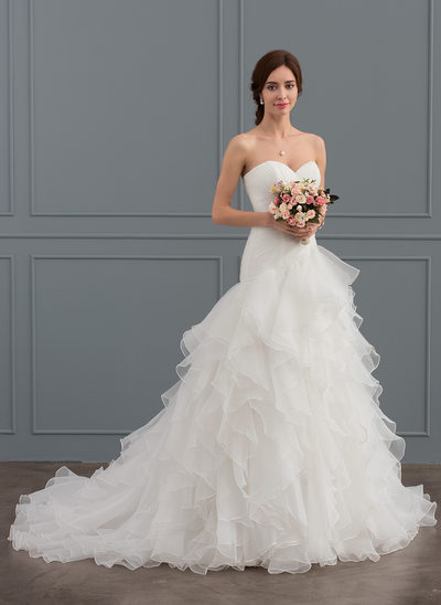 A-Line/Princess Sweetheart Court Train Organza Wedding Dress With Cascading Ruffles