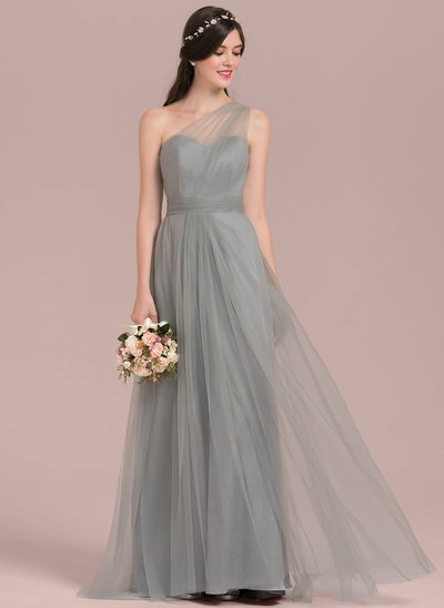 A-Line/Princess One-Shoulder Floor-Length Tulle Bridesmaid Dress With Ruffle Bow(s)