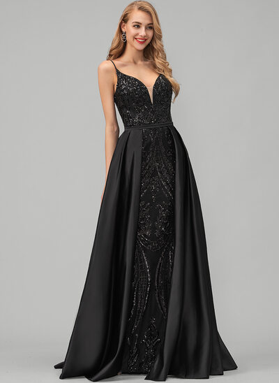 A-Line V-neck Floor-Length Satin Prom Dresses With Sequins