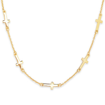 18k Gold Plated Silver Religious Cross Necklace