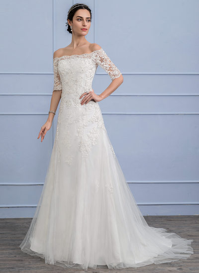 A-Line/Princess Off-the-Shoulder Court Train Tulle Lace Wedding Dress With Beading Sequins
