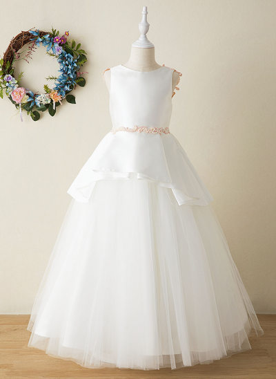 Ball-Gown/Princess Floor-length Flower Girl Dress - Tulle/Lace Sleeveless Scoop Neck With Beading/Appliques