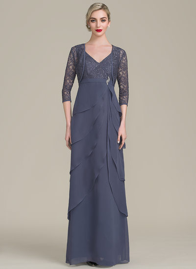 A-Line/Princess V-neck Floor-Length Chiffon Lace Mother of the Bride Dress With Beading Cascading Ruffles