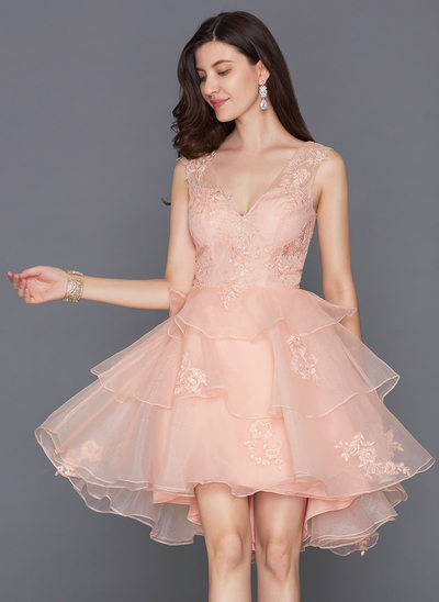 A-Line/Princess V-neck Asymmetrical Organza Homecoming Dress
