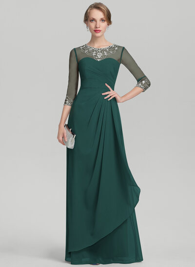 A-Line Scoop Neck Floor-Length Chiffon Mother of the Bride Dress With Beading Sequins Cascading Ruffles