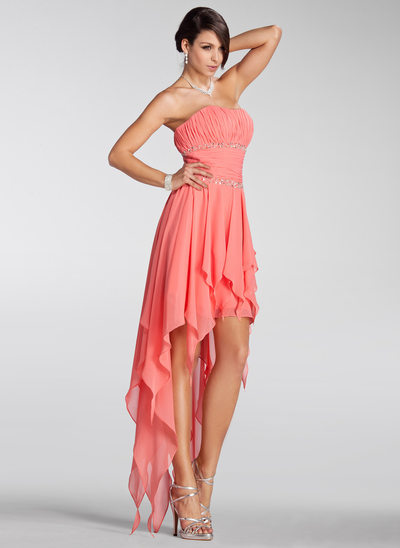 A-Line/Princess Strapless Asymmetrical Chiffon Holiday Dress With Beading Cascading Ruffles