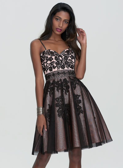 A-Line Sweetheart Knee-Length Tulle Homecoming Dress With Beading Sequins