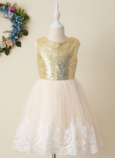 A-Line Knee-length Flower Girl Dress - Tulle/Sequined Sleeveless Scoop Neck With Appliques