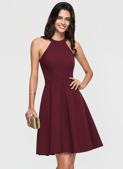 A-Line/Princess Scoop Neck Knee-Length Satin Cocktail Dress With Ruffle