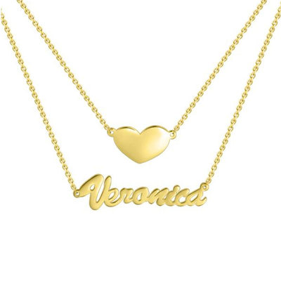Custom 18k Gold Plated Silver Name Necklace Double Necklace