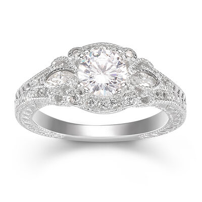 Sterling Silver Cubic Zirconia Milgrain Round Cut Engagement Rings Promise Rings -