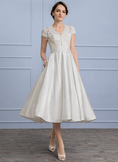 A-Line/Princess V-neck Tea-Length Satin Lace Wedding Dress With Ruffle