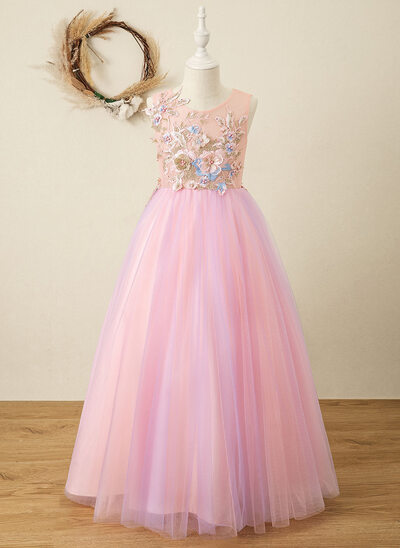A-Line Floor-length Flower Girl Dress - Tulle/Lace Sleeveless Scoop Neck With Appliques