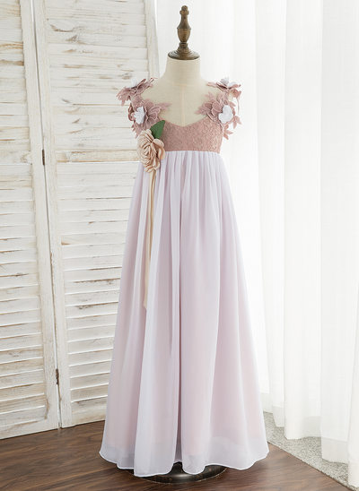 A-Line Ankle-length Flower Girl Dress - Chiffon/Lace Sleeveless V-neck With Flower(s)