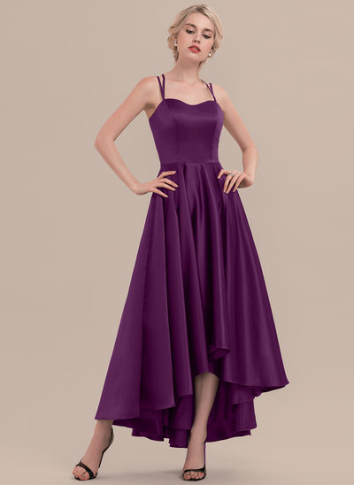 A-Line/Princess Sweetheart Asymmetrical Satin Cocktail Dress