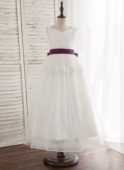 A-Line/Princess Ankle-length Flower Girl Dress - Tulle/Lace Sleeveless V-neck With Bow(s) (Undetachable sash)