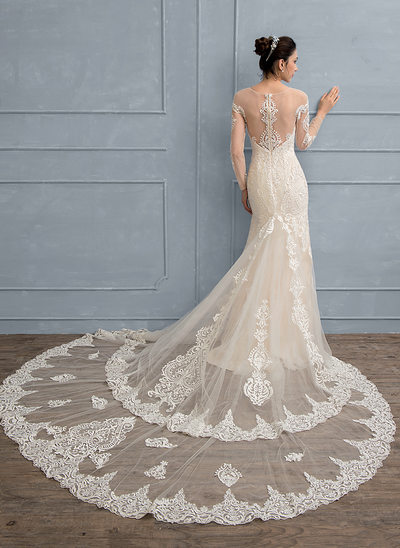 Trumpet/Mermaid Scoop Neck Royal Train Lace Wedding Dress With Beading Sequins