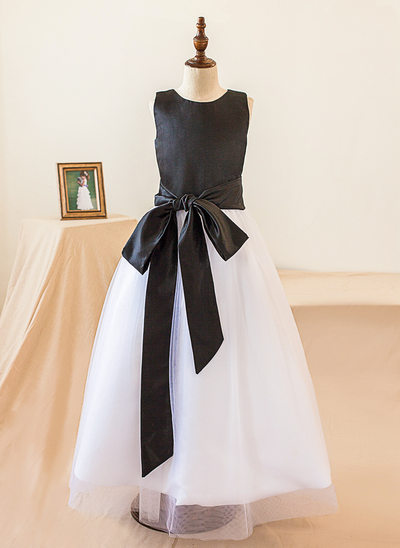 A-Line/Princess Floor-length Flower Girl Dress - Satin Sleeveless Scoop Neck With Bow(s)