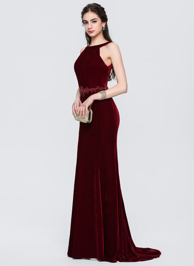 Trumpet/Mermaid Scoop Neck Sweep Train Velvet Prom Dresses With Beading Sequins