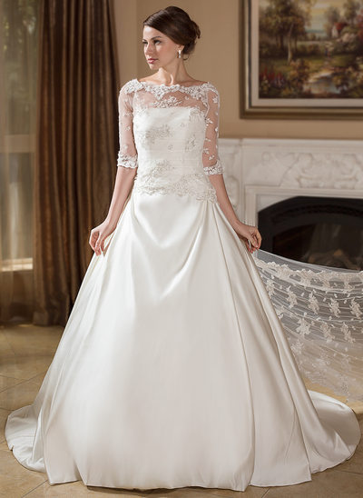 Ball-Gown/Princess Illusion Court Train Satin Wedding Dress With Ruffle