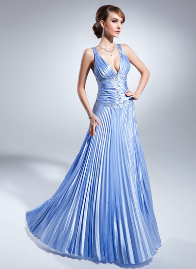 A-Line/Princess V-neck Floor-Length Charmeuse Mother of the Bride Dress With Beading Pleated