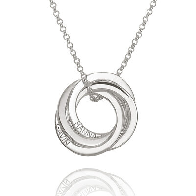 Custom Sterling Silver Circle Overlapping Four Family Necklace Circle Necklace With Kids Names - Birthday Gifts Mother's Day Gifts