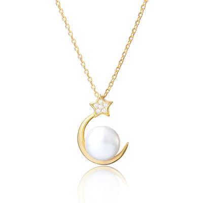 18k Gold Plated 18k Gold Plated Silver Moon Star Pearl Necklace