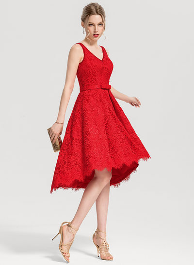 A-Line V-neck Asymmetrical Lace Cocktail Dress With Beading Sequins Bow(s)