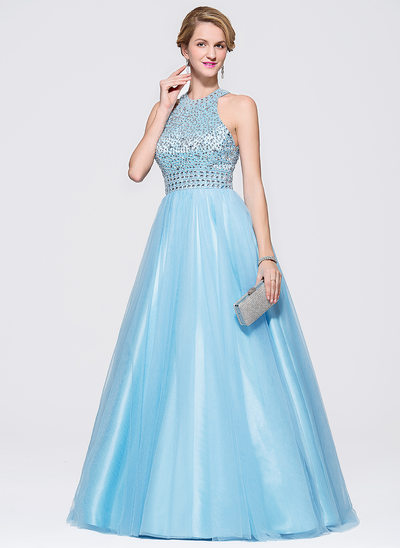 Ball-Gown Scoop Neck Sweep Train Tulle Prom Dresses With Beading Sequins