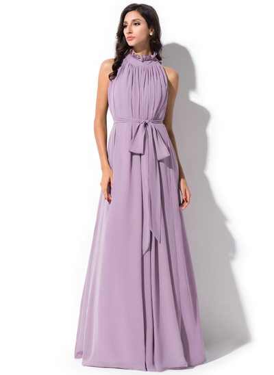 A-Line/Princess High Neck Floor-Length Chiffon Prom Dresses With Bow(s) Cascading Ruffles