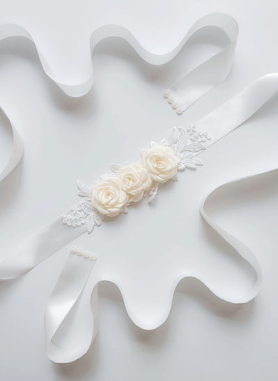 Beautiful Satin Belt With Flower/Lace