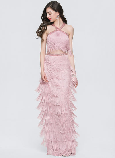 Sheath/Column Scoop Neck Floor-Length Tassel Prom Dresses With Beading