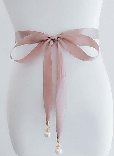 Elegant Satin Belt With Imitation Pearls