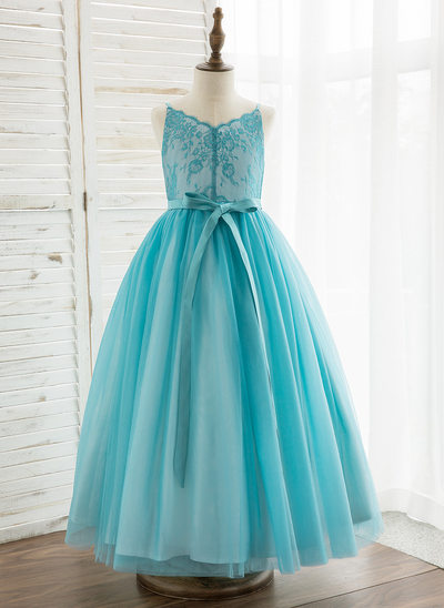 A-Line Ankle-length Flower Girl Dress - Tulle/Lace Sleeveless Straps