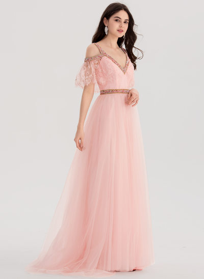 A-Line/Princess V-neck Sweep Train Lace Prom Dress With Beading