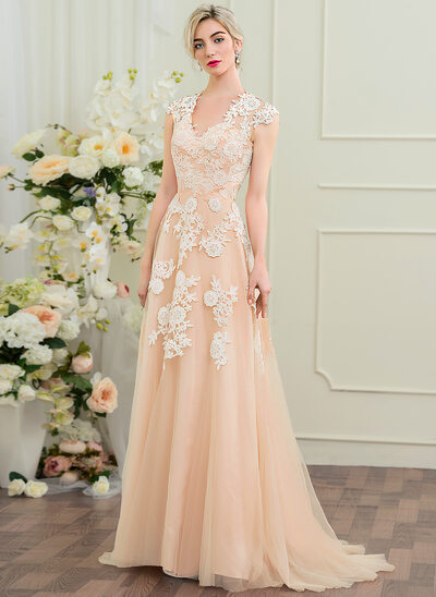A-Line/Princess V-neck Sweep Train Tulle Wedding Dress