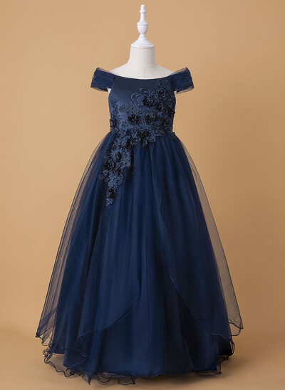 Ball-Gown/Princess Floor-length Flower Girl Dress - Tulle/Lace Sleeveless Off-the-Shoulder With Beading/Flower(s)