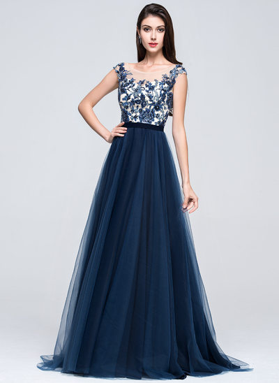A-Line/Princess Scoop Neck Sweep Train Tulle Prom Dresses With Beading Appliques Lace Sequins