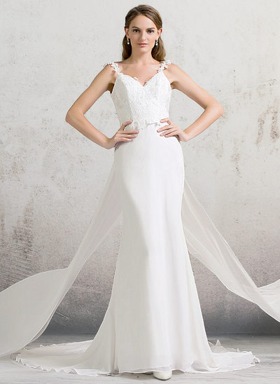 Trumpet/Mermaid V-neck Watteau Train Chiffon Lace Wedding Dress