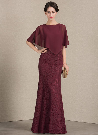 Sheath/Column Scoop Neck Floor-Length Lace Mother of the Bride Dress