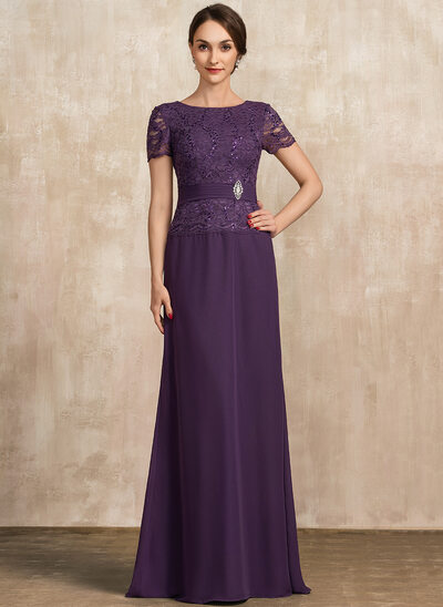 A-Line Scoop Neck Floor-Length Chiffon Lace Mother of the Bride Dress With Ruffle Crystal Brooch Sequins