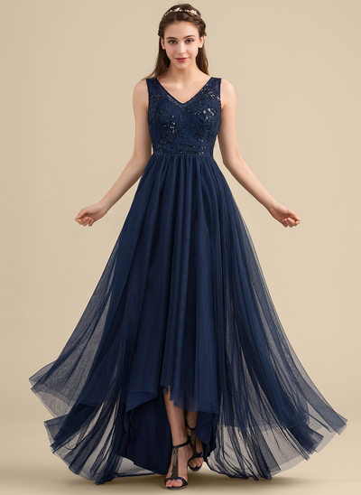A-Line V-neck Asymmetrical Tulle Lace Bridesmaid Dress