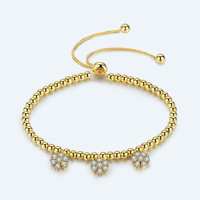 Beaded Stone Charm Bracelets Bolo Bracelets With Flower -